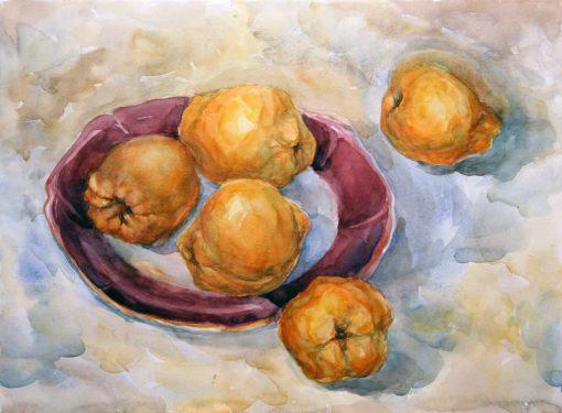 Анна Чепель. Айва, 2005. Плоды айвы на тарелке.