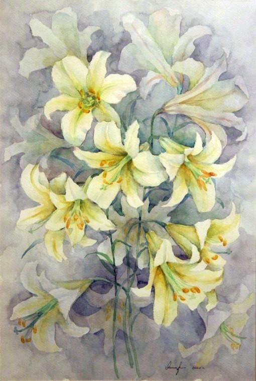 Анна Чепель. Белые лилии, 2000. Цветы белой лилии, изображённые на сером фоне.