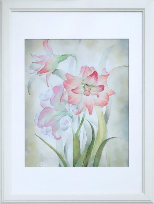 Анна Чепель. Гиппеаструмы, 2001. Розовые цветы с листьями на сероватом фоне.
