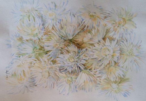Анна Чепель. Хризантемы, 2008. Множество цветов белой хризантемы в рыжевато-голубой гамме.