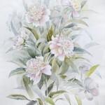 Анна Чепель. Пионы, 2001. Цветы пионы нежно-розового оттенка на фоне из листьев, в пастельной гамме.