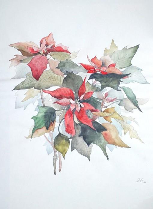 Анна Чепель. Рождественская звезда - Пуансеттия, 1999. Изображение красно-зелёных листьев пуансеттии на тонированном фоне светло-желтого оттенка.