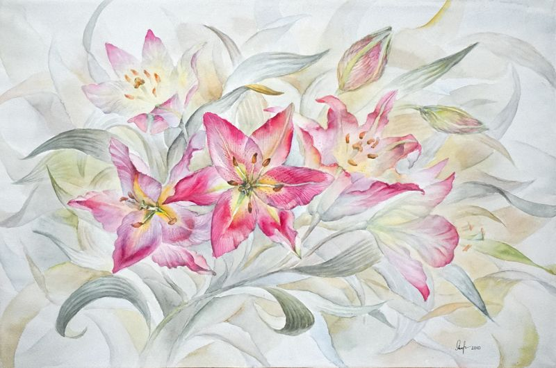 Анна Чепель. Розовые лилии, 2011. Яркие цветы лилий на перетекающем фоне из листьев.