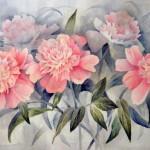 Анна Чепель. Розовые пионы, 2001. Изображение цветов и листьев пиона.
