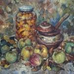 Анна Чепель. Яблочный спас, 1999. Натюрморт в осенних тонах с яблоками.