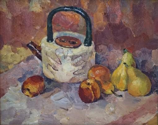 Анна Чепель. Натюрморт с чайником и фруктами, 2000.
