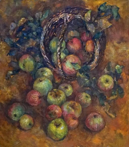 Анна Чепель. Натюрморт с яблоками, 2000. Опрокинутая корзина с яблоками на переднем плане.