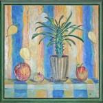Анна Чепель. Натюрморт с мадагаскарской пальмой, 2000. Изображение цветка в горшке и яблок на сине-жёлтом фоне.