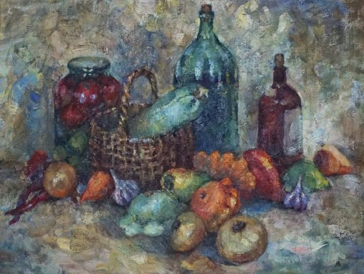 Анна Чепель. Пора плодородия, 1999. Композиция с овощами осеннего стола с корзиной, бутылями и заготовками овощей. Выполнено пастозно крупным мазком.