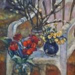 Анна Чепель. Весна, 1999. Изображение весенних цветов на фоне стула.