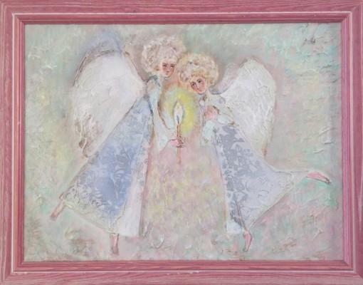Анна Чепель. Ангелы, 2010. Изображение двух декоративных ангелов, склонившихся над свечой.