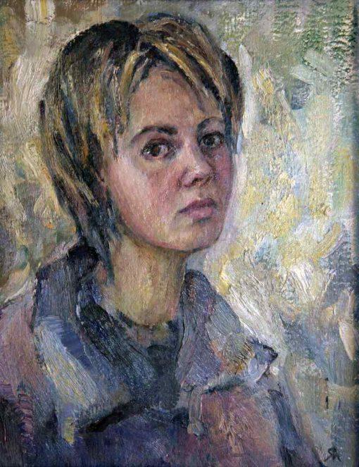 Анна Чепель. Автопортрет, 2001. Женский портрет в три четверти.