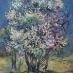 Анна Чепель. Черёмуха, 2000. Куст цветущей черёмухи в пейзаже.
