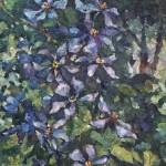 Анна Чепель. Клематис, 2001. Фиолетовые цветы в пейзаже.