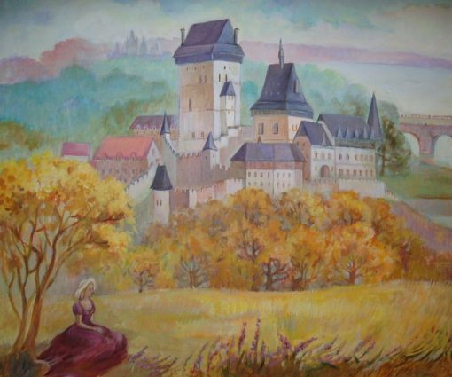 """Анна Чепель. """"По мотивам пражских пейзажей"""". Часть 1, 2013. Осенний пейзаж с дальней перспективой, видом на замок и сидящей девушкой."""