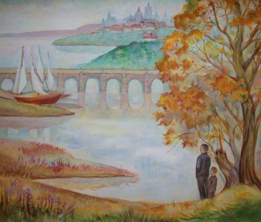 """Анна Чепель. """"По мотивам пражских пейзажей"""". Часть 2, 2013. Осенний пейзаж с видом на водоём, мост и лёгкие парусные суда."""