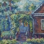 Анна Чепель. Этюд с крыльцом, 2005. Летний пейзаж с изображением части дома и крыльцом.