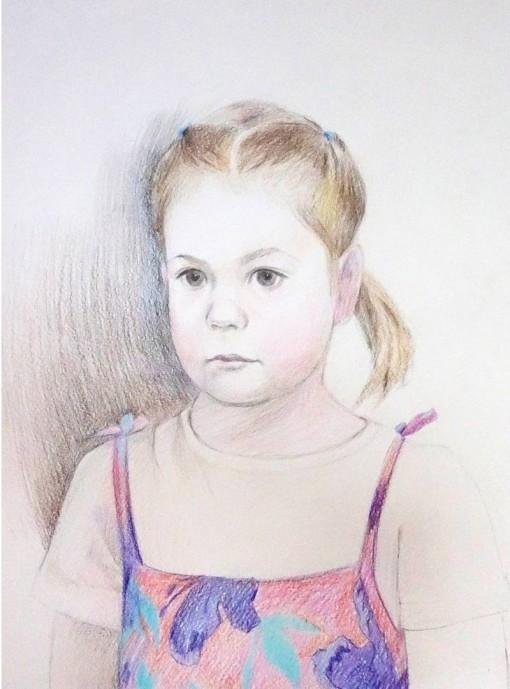 Анна Чепель. Катя, 2015. Портрет девочки в розовом сарафане.