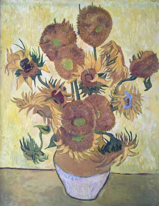 Анна Чепель. Копия картины Ван Гога Подсолнухи, 2013. Копия в золотисто-жёлтых тонах.