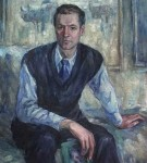 Анна Чепель. Мужской портрет, 2000. Изображение мужчины с книгой в руке, сидящего на кровати.