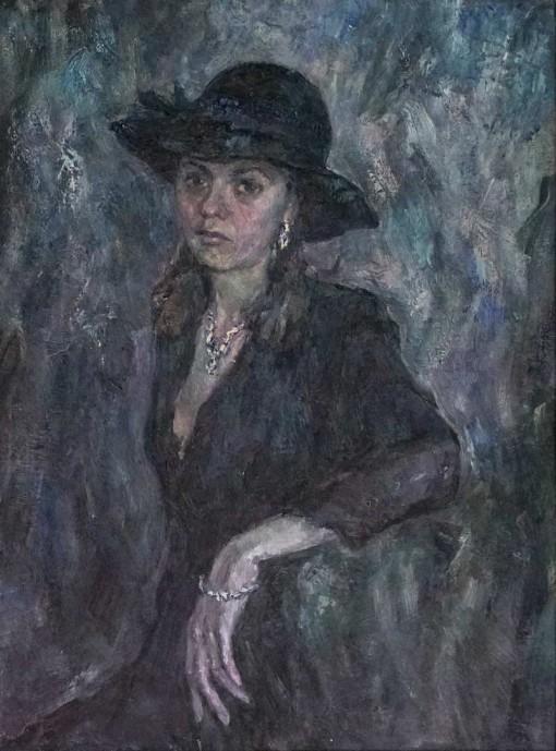 Анна Чепель. Незнакомка, 2000. Портрет сидящей женщины в приглушённой классической гамме. Портрет выполнен в развороте три четверти с рукой.