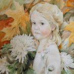 Анна Чепель. Осень, 2016. Портрет девочки на фоне из осенних листьев и цветов хризантем.
