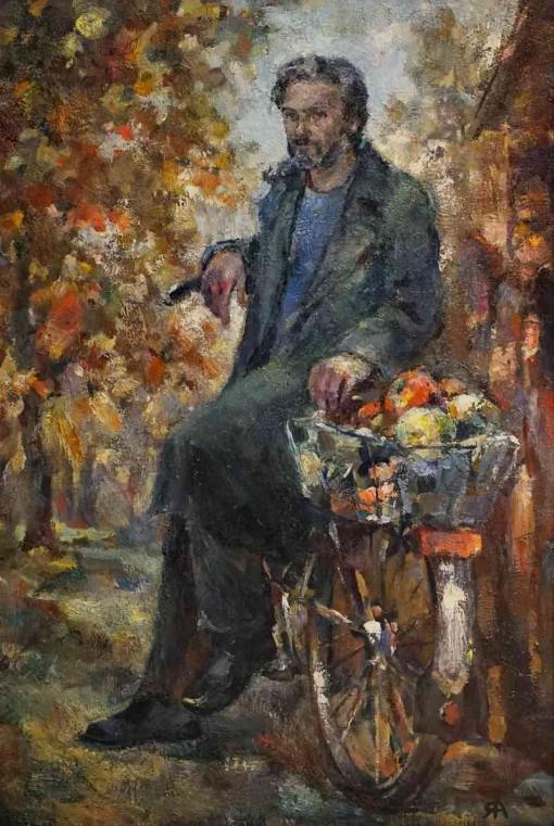 Анна Чепель. Портрет отца, 1999. Портрет мужчины в полный рост с велосипедом на фоне природы.