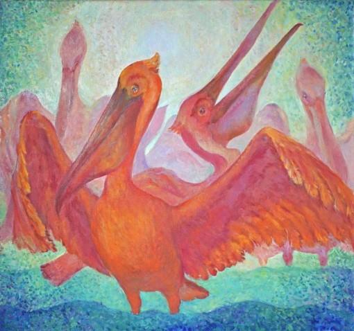 Анна Чепель. Розовые пеликаны, 2002. Декоративная работа с птицами.
