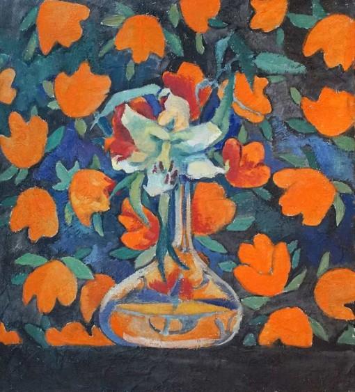 Анна Чепель. Цветок, 2002. Изображение лилии в прозрачной вазе на ярком цветочном фоне.