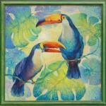 Анна Чепель. Туканы, 2002. Яркие тропические птицы на освещенном солнцем фоне из листьев монстеры.