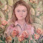 Анна Чепель. Варвара, 2016. Портрет ребёнка на фоне с изображением роз, бабочек и листьев.