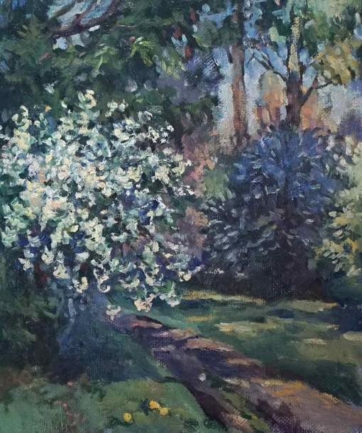 Анна Чепель. Весенний пейзаж, 1999. Цветущий кустарник и деревья, освещенные солнцем. Этюд.