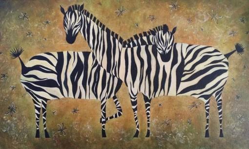 Анна Чепель. Зебры, 2011. Декоративное панно с изображением зебр, обнимающих друг друга.