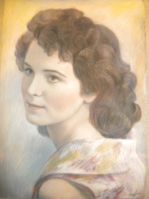 Анна Чепель. Женский портрет, 2011. Портрет женщины в пол-оборота. Ретро-стиль.