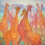 Анна Чепель. Жирафы, 2015. Жирафы в розово-коралловых тонах на голубоватом фоне природы.