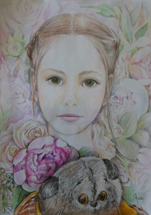Портрет девочки с игрушкой в цветах