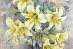 Белые лилии 60x70 см., бумага,акварель, 2000