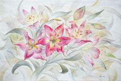 Розовые лилии 20x30 см., бумага,акварель, 2011