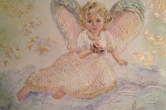 Ангел 40x50 см.,холст, смешанная техника, 2015. Оформлена в раму. Картина находится в частной коллекции.