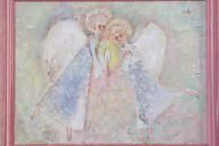 Ангелы 30x40 см.,холст, смешанная техника, 2010. Оформлена в раму. Картина находится в частной коллекции