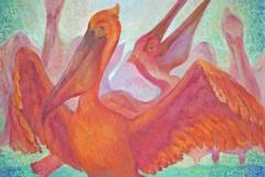 Розовые пеликаны 80x75 см., холст, масло, 2002. Оформлена в раму.