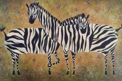 Зебры 25x35 см.,холст, смешанная техника, 2011. Оформлена в раму. Картина находится в частной коллекции
