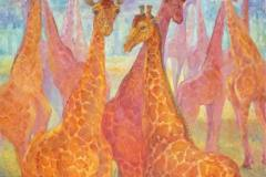 Жирафы 100x100 см.,холст, масло, 2015. Оформлена в раму.