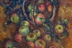 Натюрморт с яблоками 60x70 см., холст, масло, 2000. Оформлена в раму.