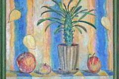 Натюрморт с мадагаскарской пальмой. 60x60 см., холст, масло, 2000. Оформлена в раму.