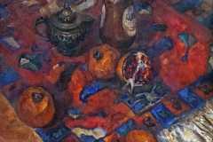 Восточный натюрморт с гранатом. 75x80 см., холст, масло, 2000. Оформлена в раму.