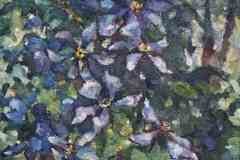 Клематис 30x50 см., холст, масло, 2001. Оформлена в раму.