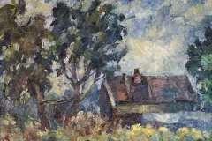 Деревенский пейзаж 35x45 см., холст, масло, 1999. Оформлена в раму.