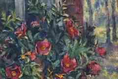 Шиповник под окном. Холст, масло, 1999. Оформлена в раму.