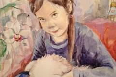Портрет девочки с собачкой. 0x30 см., бумага, акварель, 2016. Оформлена в раму. Картина находится в частной коллекции.